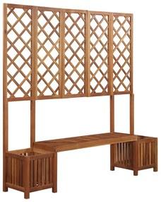 vidaXL Záhradný kvetináč s lavičkou a mriežkou, masívne akáciové drevo