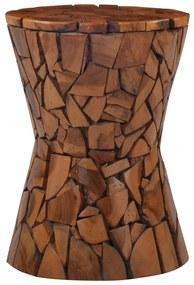 vidaXL Mozaiková stolička hnedá tíkový masív
