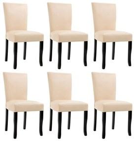 vidaXL Jedálenské stoličky 6 ks, krémové, umelá koža