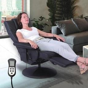 Polohovateľné masážne relaxačné televízne kreslo GULLIVER – čierna farba