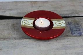 Červený okrúhly keramický svietnik 11 cm
