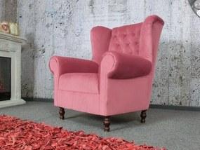 (2485) VARY VELVET Chesterfield ružové kreslo ušiak Max Winzer