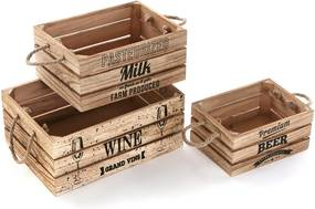Sada 3 drevených boxov Versa