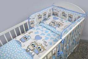 5-dielne Sovičky modré, obliečky do postieľky, Ankras - Rozmer 120x90x180