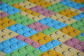 MAXMAX Detský koberec LEGO kocky obdĺžnikový polyamid krátky vlas multicolor