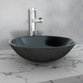 vidaXL Umývadlo z tvrdeného skla, 42 cm, čierne