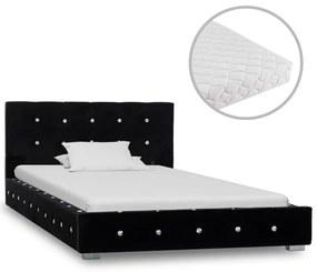 vidaXL Posteľ s matracom čierna 90x200 cm zamatová