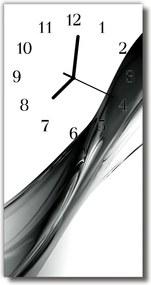 Sklenené hodiny vertikálne  Abstrakcia čierna biela čiara