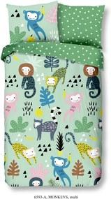 Detské bavlnené obliečky Good Morning Monkeys, 140 x 200 cm