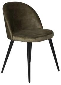 Velvet stolička čierna/matný zelený zamat