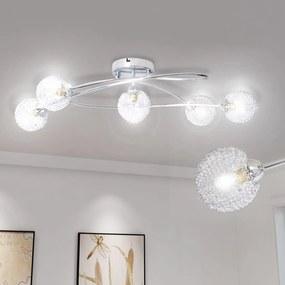 vidaXL Stropná lampa so sklenenými tienidlami ovinutými drôtom na 5 žiaroviek