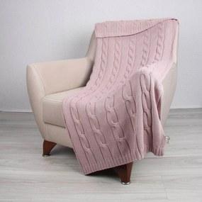 Ružový bavlnený pléd Couture, 130 x 170 cm