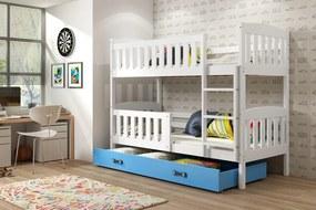 Poschodová posteľ KUBO - 200x90cm - Biela - Modrá