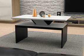 Mazzoni SISI biely + čierny, konferenčný stolík, čiernobiely, obdĺžnikový