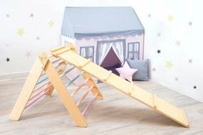 Montessori Piklerovej triangel set 2020 varianta: lakované hranoly, farebné priečky