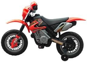 vidaXL Detská elektrická motorka červenej farby