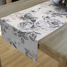 Goldea dekoračný behúň na stôl loneta - vzor veľké sivé ruže 20x120 cm