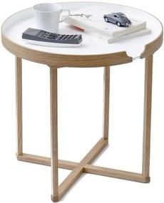Biely odkladací stolík z dubového dreva s odnímateľnou doskou Wireworks Damieh, 45 × 45 cm