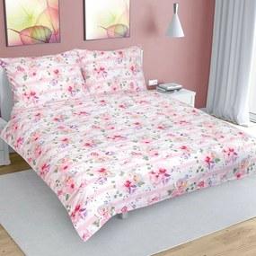 Bellatex Bavlnené obliečky Kvet s pruhom ružová, 200 x 200 cm, 2 ks 70 x 90 cm