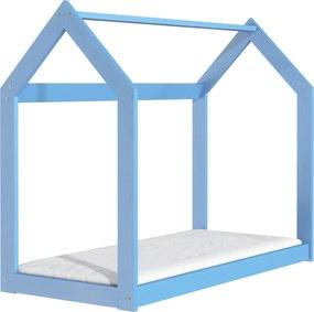 ČistéDrevo Drevená posteľ domček 160 x 80 cm modrá + rošt