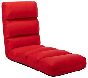 vidaXL Skladacia leňoška na podlahu, červená, umelá koža
