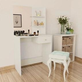 Toaletný stolík, drevotrieska, 75x40x141 cm, biely