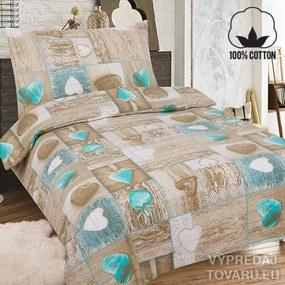 Láska 140 x 200 cm hnedá bavlnené obliečky
