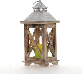 Drevený lampáš s plechovým vrchom MSL1540 - naturálna farba (15x15x36 cm) - vidiecky štýl