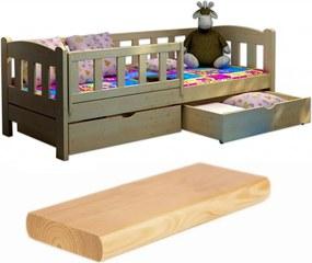 FA Oľga 2 200x90 detské postele so zábranou Farba: Prírodná, Variant rošt: Bez roštu (-10 Eur)