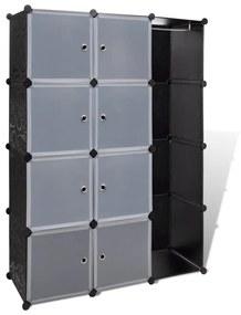 vidaXL Modulárna skrinka s 9 priečinkami 37x115x150 cm, čierna a biela