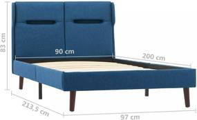 Posteľ s LED svetlom modrý textil Dekorhome 90x200 cm