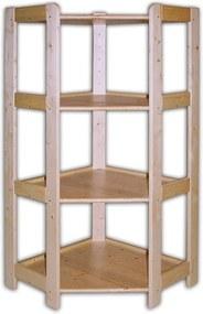 Rohový drevený regál 4 police, 1275 x 600 x 335 mm
