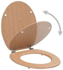 vidaXL WC sedadlo s pevným sklápaním MDF dizajn bambusu