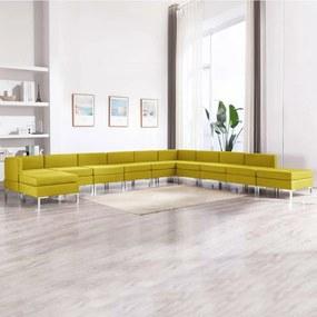 vidaXL 11-dielna sedacia súprava látková žltá