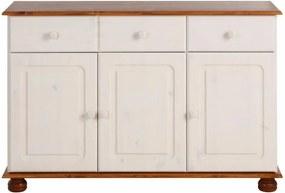 Biela trojdverová komoda s hnedými detailmi z masívneho borovicového dreva Støraa Ella
