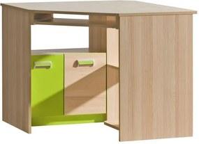 PC stůl rohový, jasan / zelený, EGO L11 06024128 Tempo Kondela