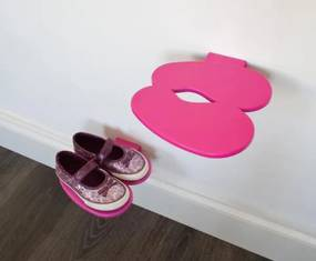 Polička na detské topánky J-ME Footprint, ružová