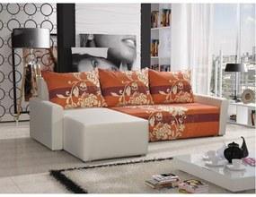 Rohová sedacia súprava s opierkami a vzormi KRISTIAN BIS, biela + oranžová