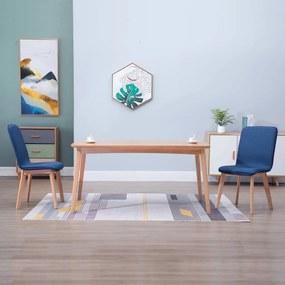 vidaXL Jedálenské stoličky 2 ks, modré, látka a dubový masív
