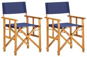 vidaXL Režisérske stoličky 2 ks, akáciový masív, modré