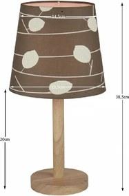 Stolná lampa QENNY TYP 6 hnedá / vzor listy Tempo Kondela