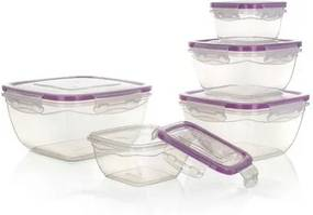 Banquet Sada plastových dóz na potraviny, 5 ks, fialová