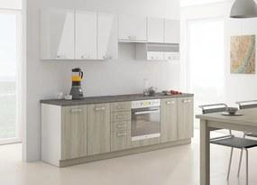Priama kuchynská linka dub latte THOR 260 cm - Borovice bílá - 28 mm