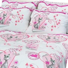 Detské obliečky Mačičky ružové 140x200/70x90 cm