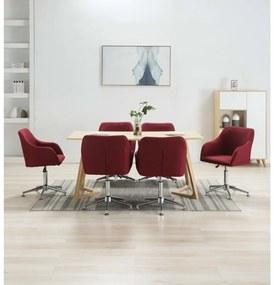 vidaXL Otočné jedálenské stoličky 6 ks, vínovo červené, látka