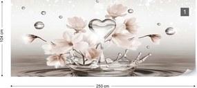 Fototapeta GLIX - Water Drops Heart Flowers 2 + lepidlo ZADARMO Papírová tapeta  - 254x184 cm