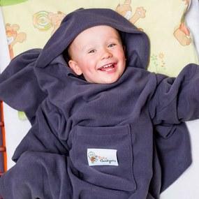 Deka s rukávmi pre deti Baby Wrapi Active - tmavosivá