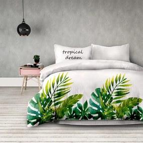 Obliečky z bavlny AmeliaHome Tropical Dream bielo-zelené