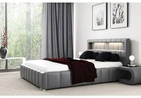 Manželská posteľ Fekri 120x200, šedá eko koža