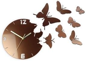 Mazur 3D nalepovacie hodiny Butterflies medené
